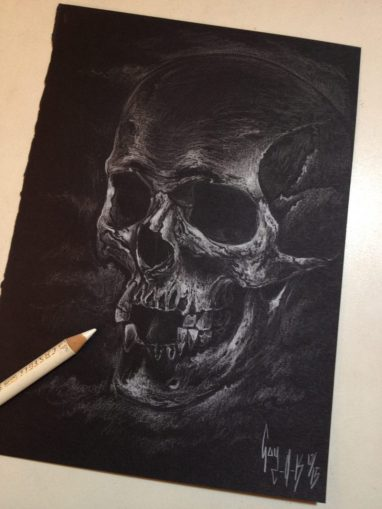 "Charcoal Drawing ""White Skull"""
