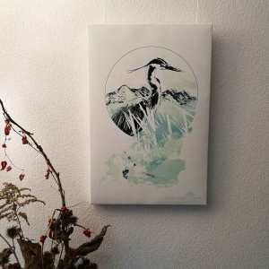"""Ardea Cinerea"" – HelvEdition Mixed Media Illustration by Ka L-O-K Open Edition Fine Art Canvas Print"