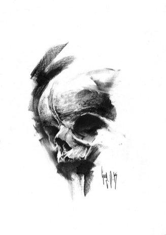 pulvis es - #748 — Dessin au charbon   Charcoal Drawing   Kohlezeichnung Guy Labo-O-Kult   FINE ART PRINTS AVAILABLE