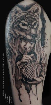 Tattoo done by Guy Labo-O-Kult during Mondial du Tatouage, Paris