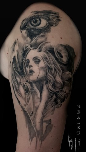 Healed Tattoo done by Guy Labo-O-Kult, during Mondial du Tatouage 2017