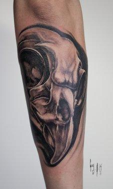 Tattoo | Tatouage – Guy Labo-O-Kult | Black and Grey Hawk Skull
