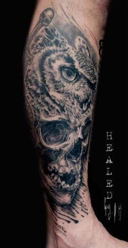 Tatouage Cicatrisé - Grand Duc Skull par Guy Labo-O-Kult