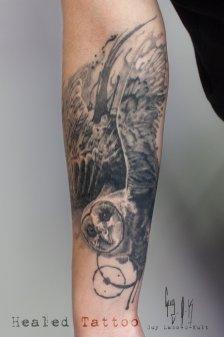 Healed Tattoo of a barn owl by Guy Labo-O-Kult