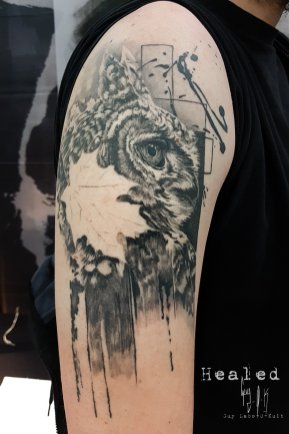 "Healed Tattoo - Tatouage Cicatrisé - Abgeheiltes Tattoo ""Wanna Do Eagle Owl"" Done @ Besançon Tattoo Show 2018"