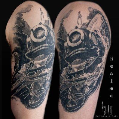 "Healed Tattoo - Tatouage Cicatrisé - Abgeheiltes Tattoo ""Dive Deep"""