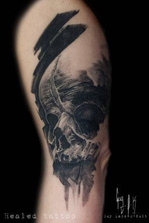 HEALED - Charcoal Style Fetus Skull, Guy Labo-O-Kult