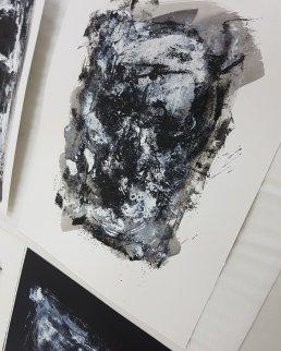 Detail Monoprint Skull I by Guy Labo-O-Kult   201911