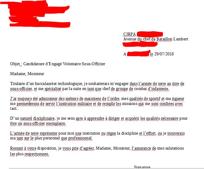 cv lettre de motivation armee terre
