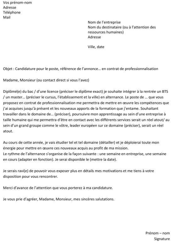 lettre de motivation et cv police word