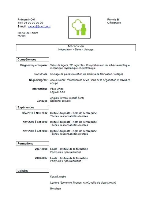 cv simple pour debutant