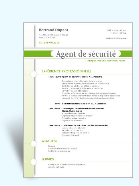 exemple de cv agent de securite gratuit