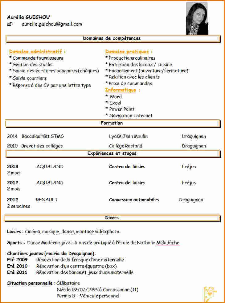 cv en anglais bts assistant de gestion