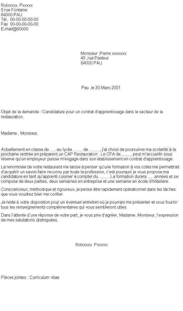 lettre cv pour apprentissage