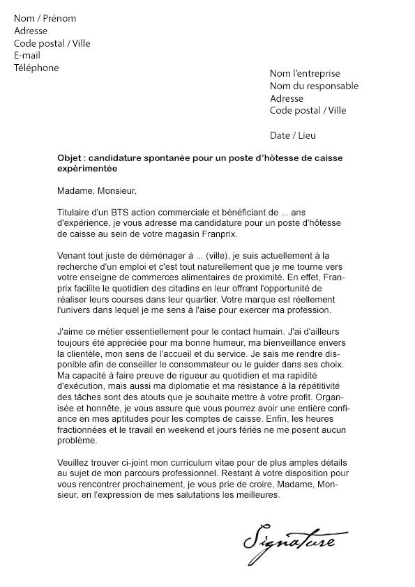 lettre de cv caissiere