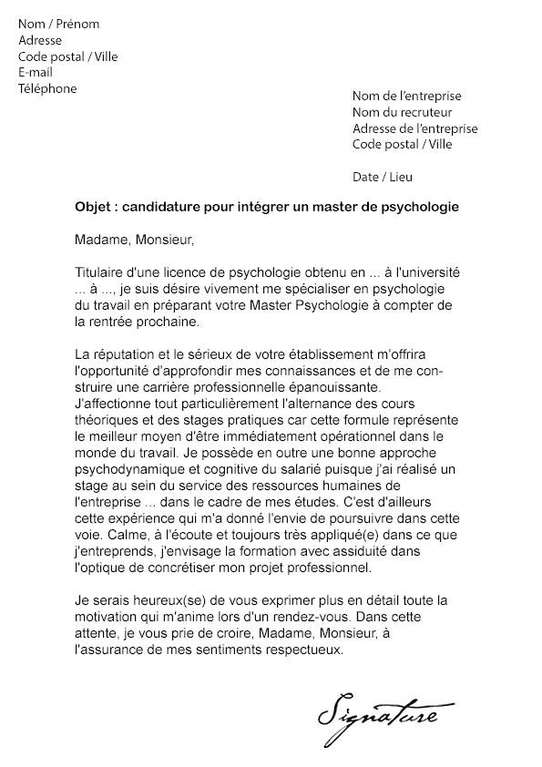 cv lettre de motivation stage en psychologie