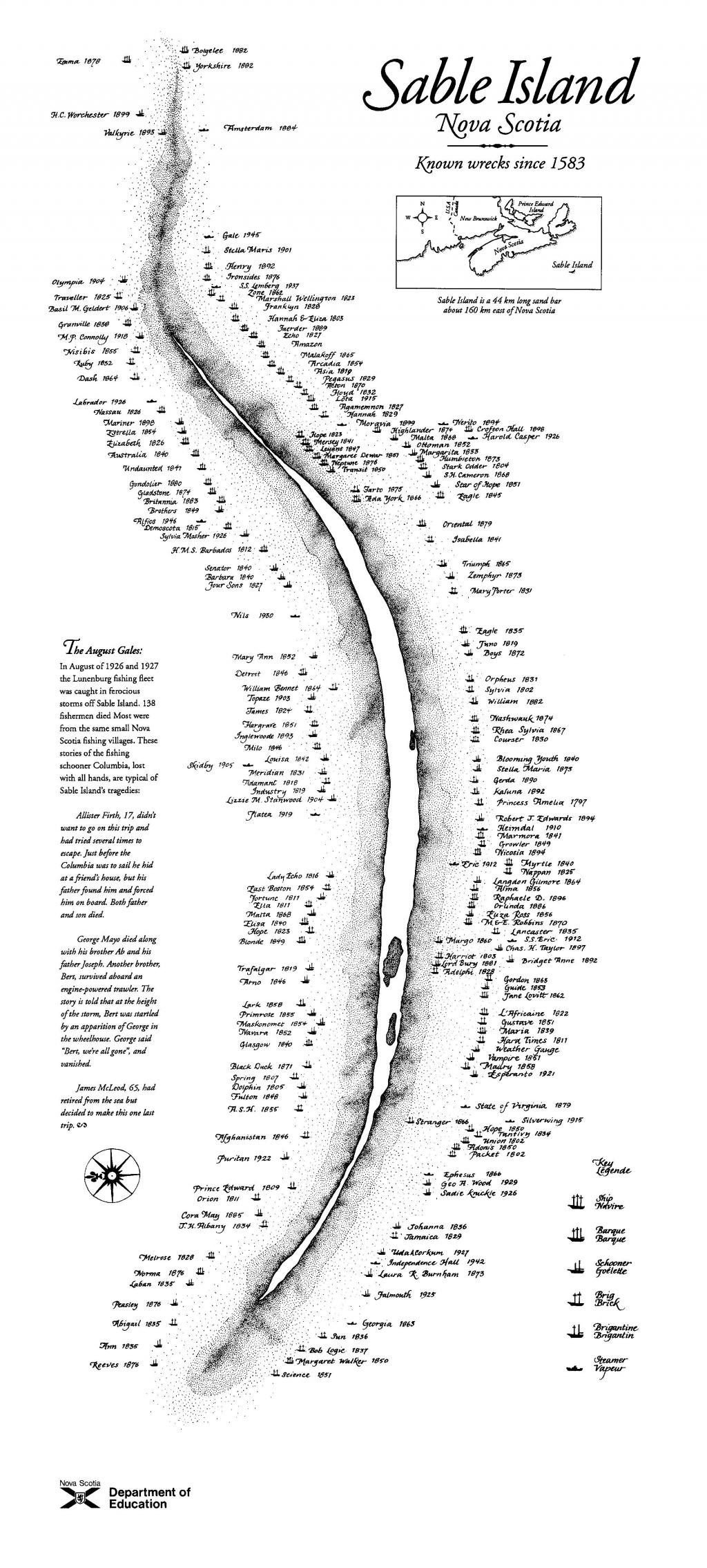 La carte des épaves de l'île de Sable