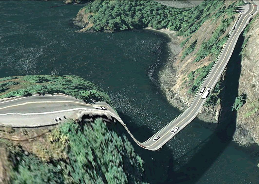 pont route google earth altitude relief 3d 17 Les ponts de Google Earth