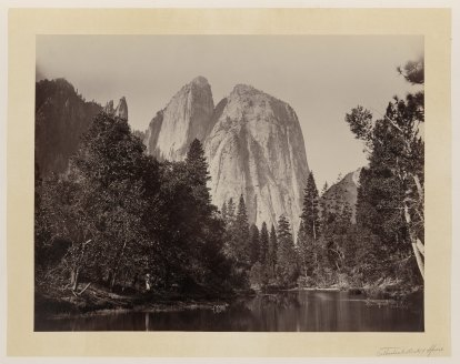 14-Carleton-Watkins-Cathedral-Rocks-with-lake-and-trees-in-foreground-Yosemite-Valley-Calif