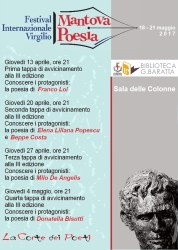 Tappe di avvicinamento al Festival Mantova Poesia/Virgilio – Mantova 13 aprile/4 maggio