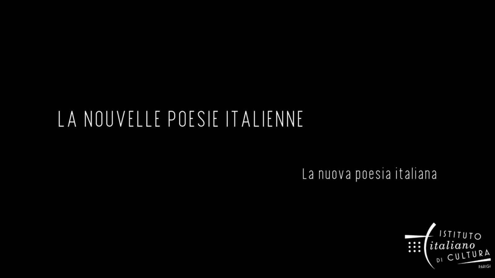 La Nouvelle Poésie Italienne - Festival en ligne