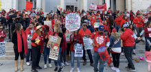 L.A. teachers in red rallying during their January 2019 strike.