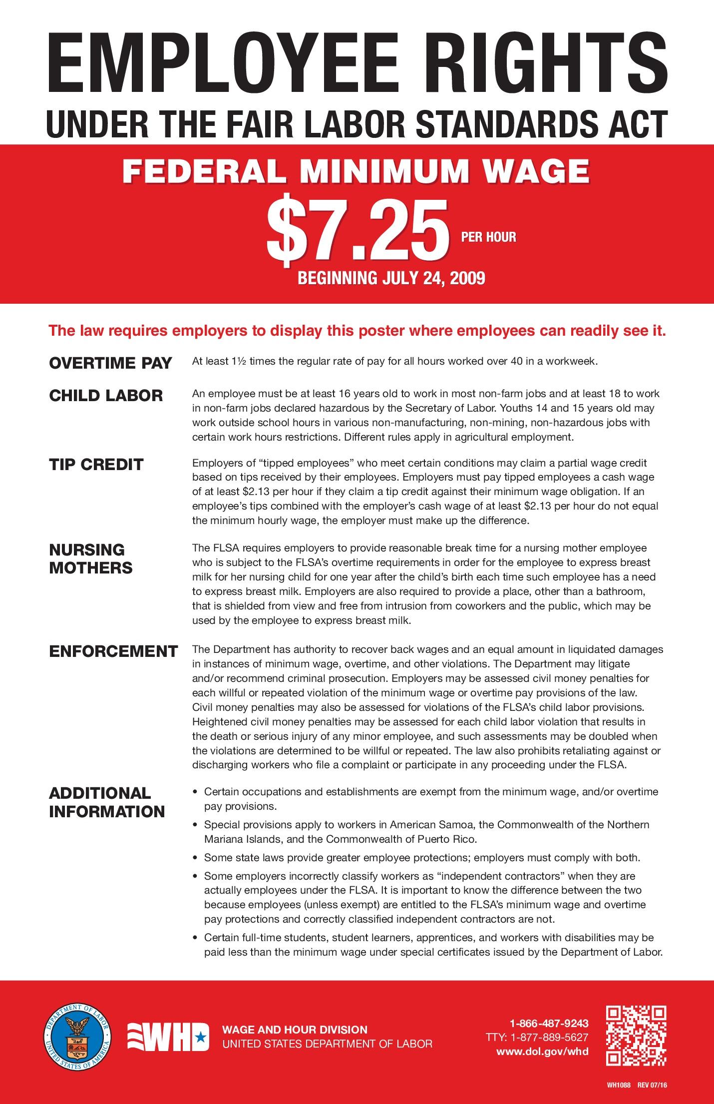 free federal minimum wage labor law