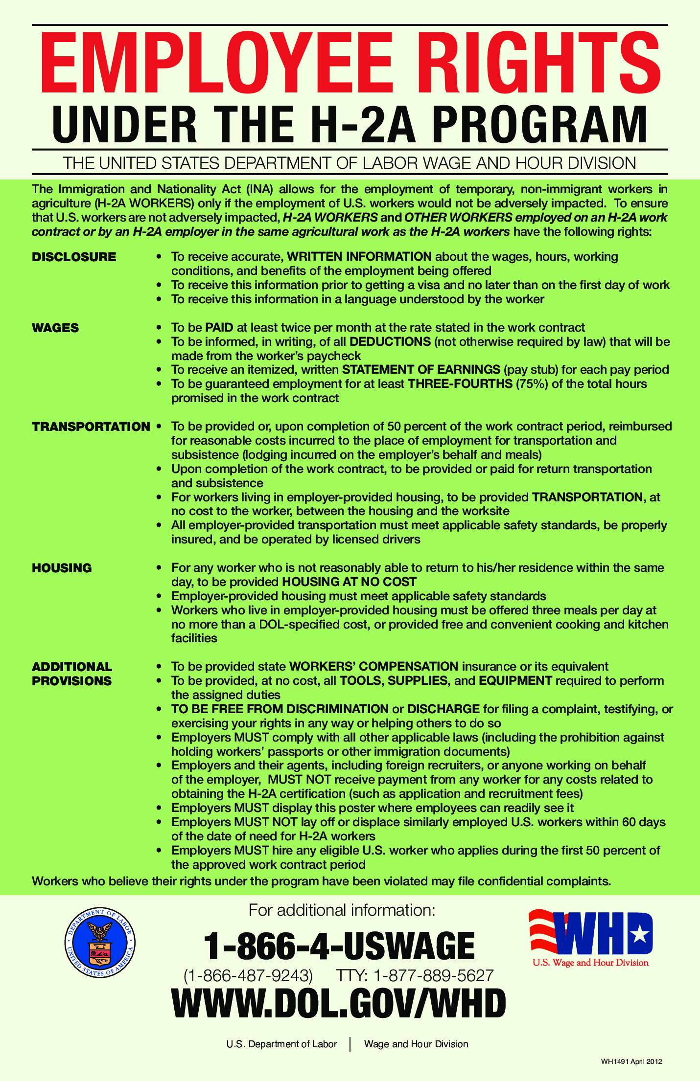 agriculture labor law poster