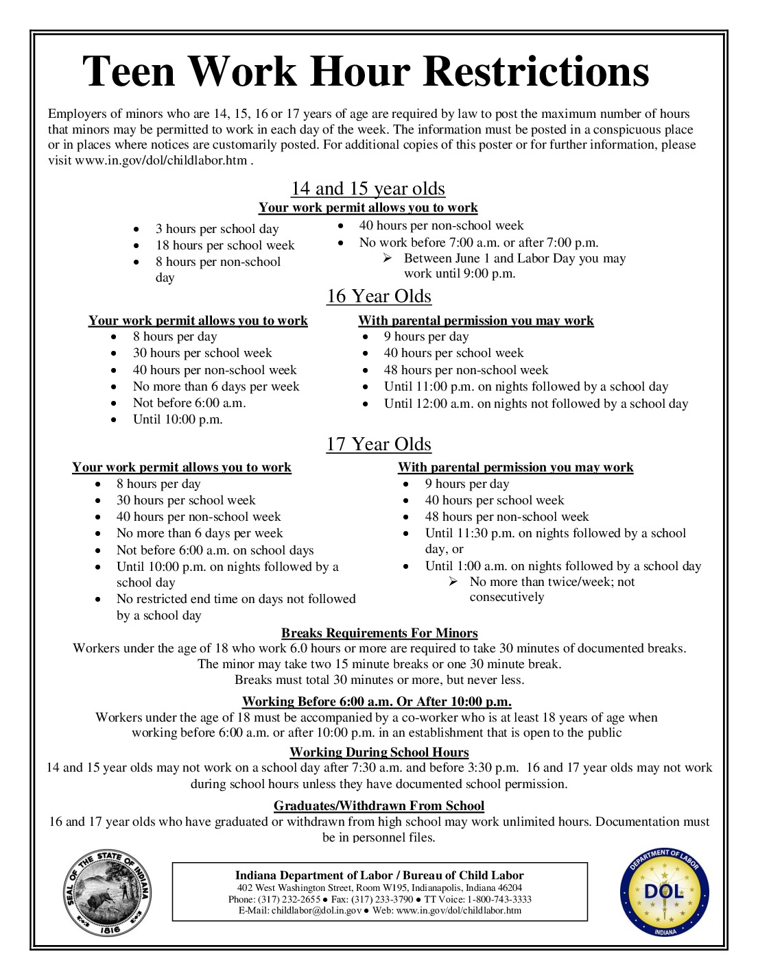 Free Indiana Indiana Child Labor Labor Law Poster