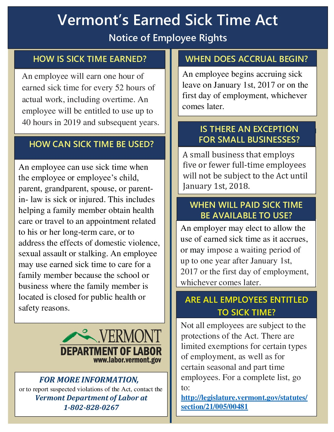 free vermont earned sick time labor law