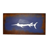 Sword fish silhouette wall art made of wood