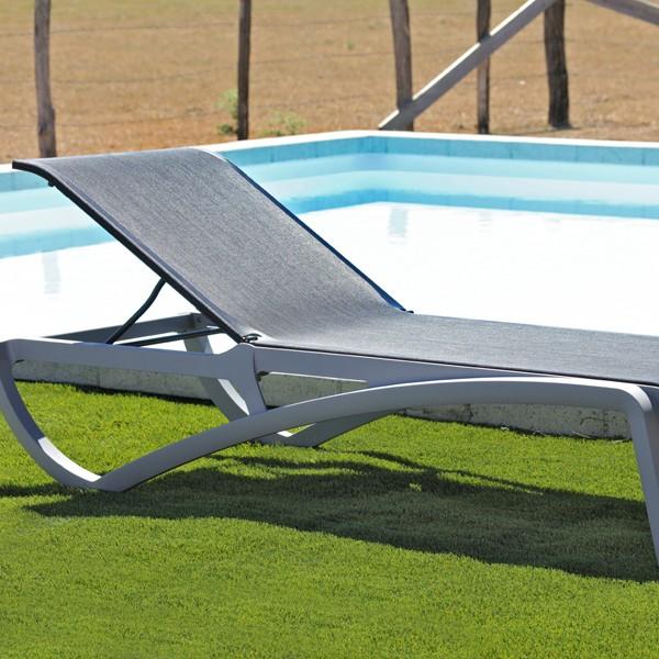 chaise longue piscine alize grise noire