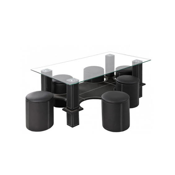 table basse avec 6 poufs pied en metal rembourre simili cuir plateau en verre 248