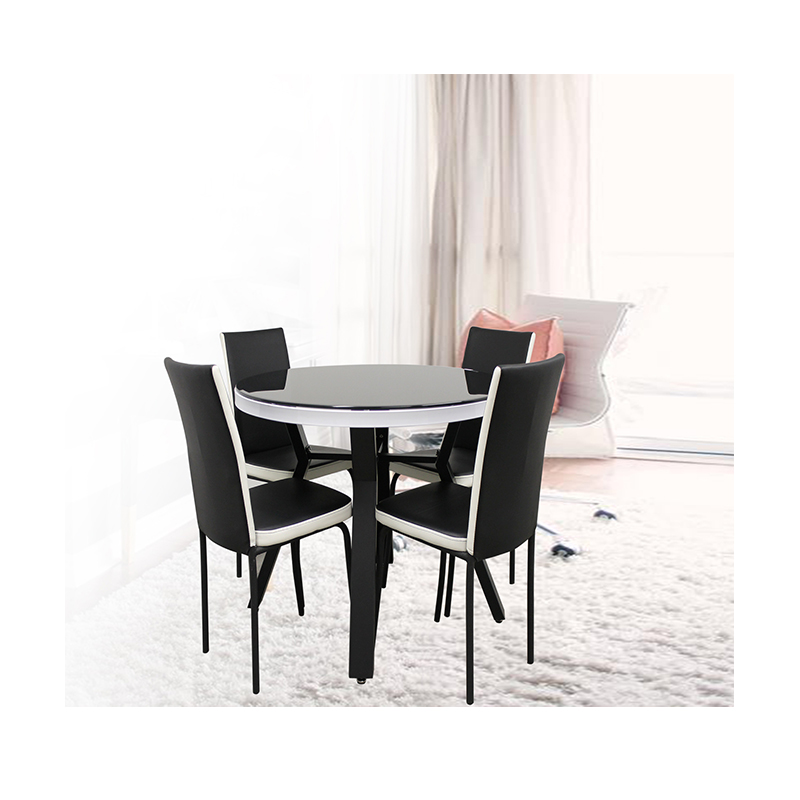 table a manger ronde avec 4 chaises pied en metal plateau en verre trempe a23