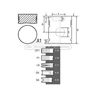 Piston avec segments Perkins A3.144 et A4.192 (OEM: 0630030)