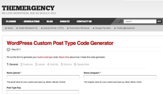 WordPress Custom Post Type Code Generator