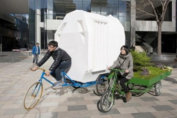 Casas plegables tiradas triciclos China