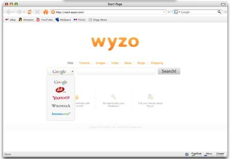 Wyzo, nuevo navegador web para Mac basado en Firefox