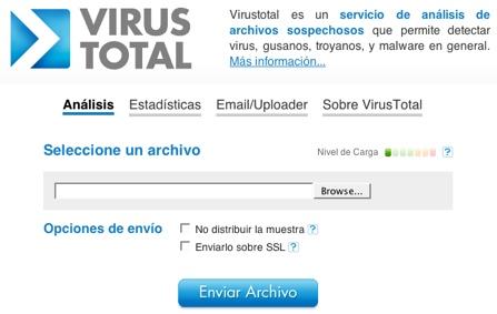 Virus Total, análisis online de archivos sospechos