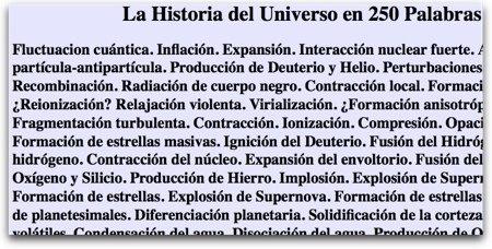 Historia del Universo en 250 palabras o menos
