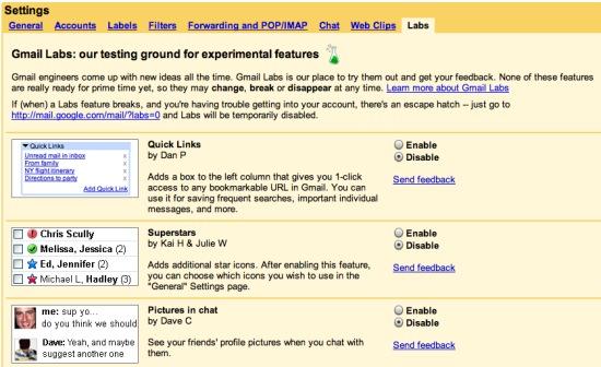 Gmail Labs: nuevas funcionalidades para Gmail