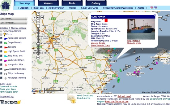 Ver el tráfico marítimo en tiempo real con Live Ships Map