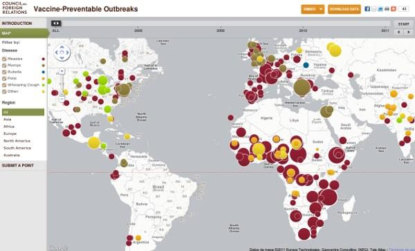Mapa interactivo de enfermedades vacunables
