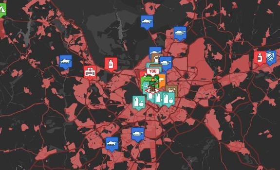 Mapa de supervivencia ante un ataque zombie
