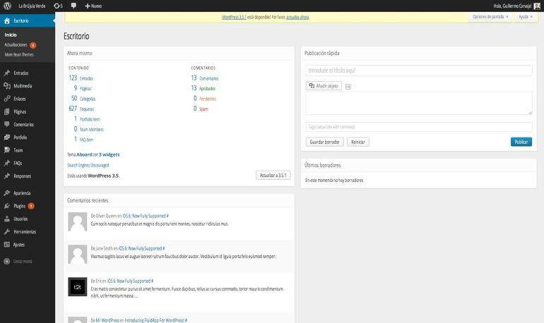 Nuevo diseño 'secreto' del dashboard de WordPress: pruébalo ahora