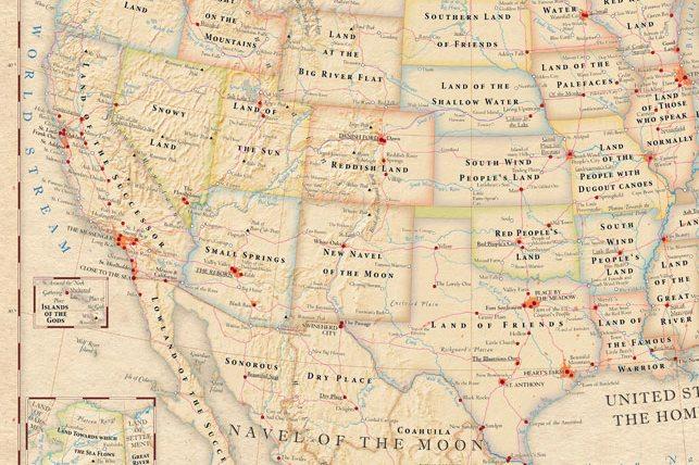 Mapas del mundo con los significados literales de los sitios