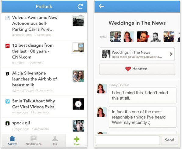 La red social Potluck llega al iPhone