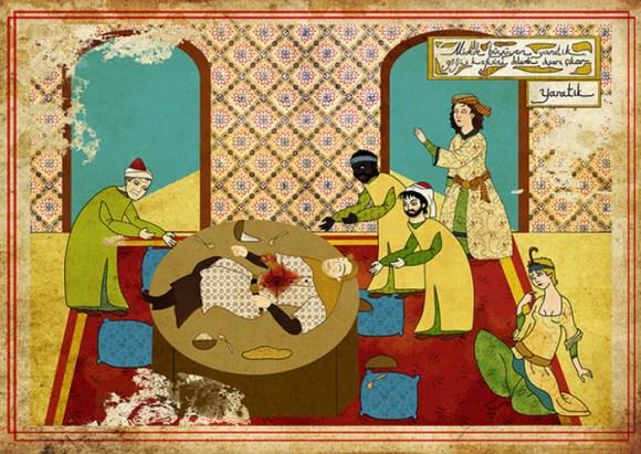 Murat Palta arte otomano tradicional para representar películas famosas Alien