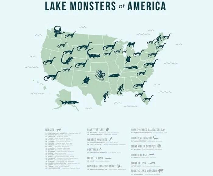 Atlas de lagos con monstruo en EEUU