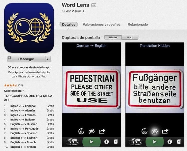 Word Lens y los paquetes de idiomas, ahora gratis en la AppStore